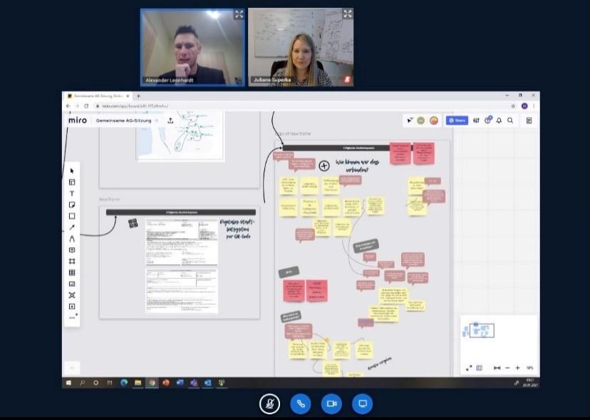 """Digitale AG-Sitzung am 19.01.2021 – die gemeinsame Ideensammlung wurde digital auf dem """"Miro Board"""" festgehalten:"""